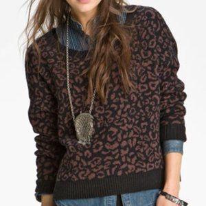 Free People Leopard Pullover Sweater Alpaca Wool Cropped Black Brown XS